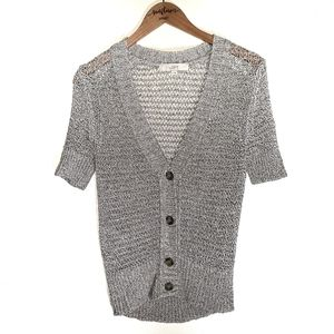 LOFT Silver and Tan Knit Short Sleeve Sweater